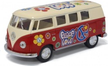Автобус Kinsmart Volkswagen Classical Bus 1962 с рисунком, красный