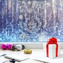 Наклейка для окон Арт Узор Новогодний венок