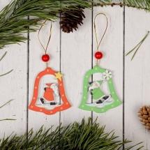 Подвеска новогодняя Дедушка в колокольчике МИКС
