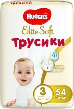 Трусики Huggies Elite Soft 3 (6-11 кг) 54 шт