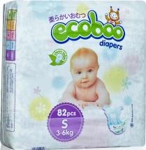 Подгузники Ecoboo S (3-6 кг) 82 шт