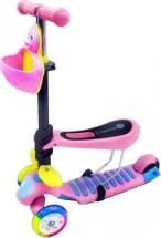 Самокат Kids Scooter 3-х колёсный музыкальный с сиденьем, розовый