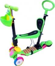 Самокат Kids Scooter 3-х колёсный музыкальный с сиденьем и ручкой, зеленый