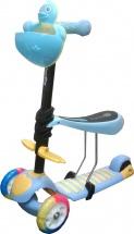 Самокат Kids Scooter 3-х колёсный музыкальный с сиденьем, голубой
