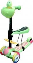 Самокат Kids Scooter 3-х колёсный музыкальный с сиденьем, зеленый