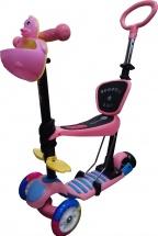 Самокат Kids Scooter 3-х колёсный музыкальный с сиденьем и ручкой, розовый