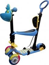 Самокат Kids Scooter 3-х колёсный музыкальный с сиденьем и ручкой, синий