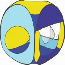 Палатка Belon Радужный домик квадрат 4 грани, яркий голубой/зеленое яблоко/лимон/голубой