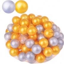 Шарики для сухого бассейна Нордпласт d 6 см 100 шт, золотой/серебряный
