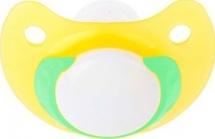 Пустышка Пома Желтая с синим кольцом силикон ортодонтическая с 0 мес