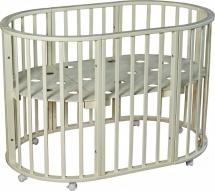 Кроватка Лаура 3 в 1 колеса овальная, слоновая кость