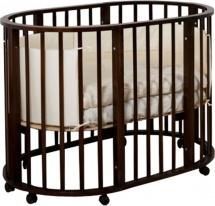 Кроватка Лаура 3 в 1 колеса овальная, шоколад