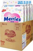 Набор подгузников Merries L (9-14 кг) 4 пачки по 54 шт