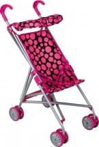 Коляска-трость для кукол Buggy Boom Mixy с крышей, горошек (розовый-черный)