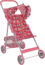 Коляска для кукол Buggy Boom Mixy с корзиной, цветы (розовый)