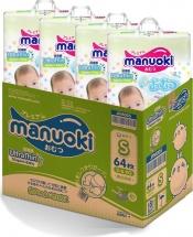 Набор подгузников Manuoki S (3-6 кг) 4 пачки по 64 шт