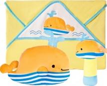 Подарочный набор Жирафики Веселый кит: полотенце, погремушка и подушка