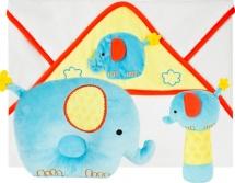 Подарочный набор Жирафики Добрый слоник: полотенце, погремушка и подушка