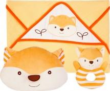 Подарочный набор Жирафики Хитрый лисёнок: полотенце, погремушка и подушка