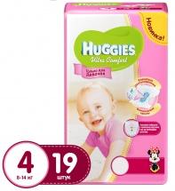 Подгузники Huggies Ultra Comfort для девочек 4 (8-14 кг) 19 шт