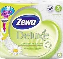 Туалетная бумага Zewa Deluxe Ромашка 3 слоя 4 рулона