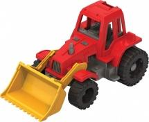 Трактор Нордпласт Ижора с грейдером, красный