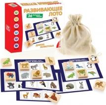 Лото Дикие животные (36 деревянных фишек+6 карточек)