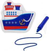 Игрушка для ванны Кораблик с пищалкой (+ водный карандаш)