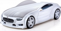 Кровать-машина NEO Мерседес объемная 3d, белый