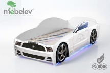 Кровать-машина LIGHT Мустанг, белый