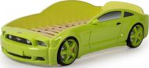 Кровать-машина LIGHT-3D Мустанг объемная, зеленый
