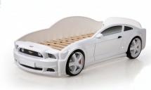 Кровать-машина EVO Мустанг объемная (3d), белый