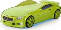 Кровать-машина NEO Тесла объемная 3d, зеленый