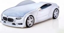 Кровать-машина NEO БМВ объемная 3d, белый