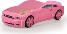 Кровать-машина EVO Мустанг объемная (3d), розовый