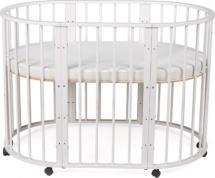 Кроватка-трансформер Sleepy 8 в 1 овальная с маятником, белый