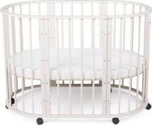 Кроватка-трансформер Sleepy 8 в 1 овальная с маятником, бежевый