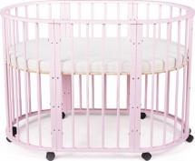 Кроватка-трансформер Sleepy 8 в 1 овальная с маятником, розовый