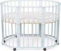 Кроватка-трансформер Sleepy 8 в 1 овальная с маятником, голубой
