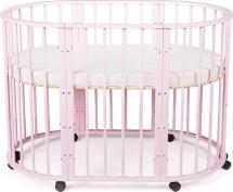 Кроватка-трансформер Sleepy 8 в 1 овальная, розовый