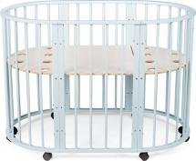 Кроватка трансформер Sleepy 8 в 1 овальная, голубой