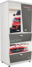 Шкаф Z5 Мерседес с однотонными вставками, красный