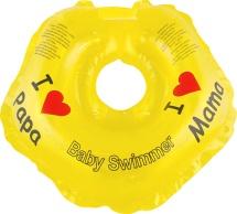 """Круг на шею Baby Swimmer """"Я люблю"""" желтый 3-12 кг"""
