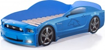 Кровать-машина Мустанг PLUS с подсветкой фар, синий