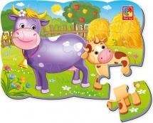 Пазлы магнитные Vladi Toys Корова и теленок 12 деталей