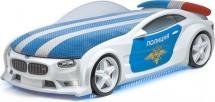 Кровать-машина NEO БМВ Полиция-спорт объемная (3d) с посветкой фар, дна и спойлером