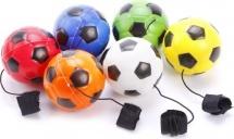 Мяч-прыгун LittleZu Футбол на резинке 6,3 см, белый