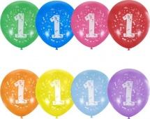 """Воздушный шарик 12""""/30см Единичка 1 шт, цвет микс"""