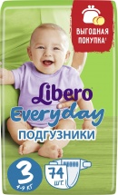 Подгузники Libero Everyday 3 (4-9 кг) 74 шт