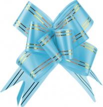 Бант-затяжка с золотой полосой 3 см, голубой